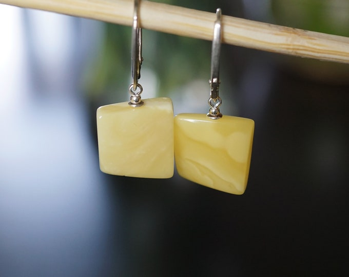 3g. Natural Baltic Amber Earrings, White Amber Earrings