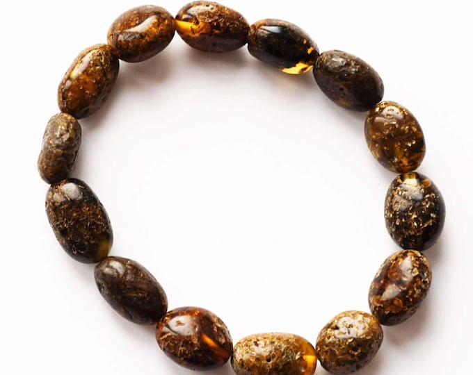 11g. Genuine Baltic Amber Bracelet, Dark Amber Bracelet, Natural Amber