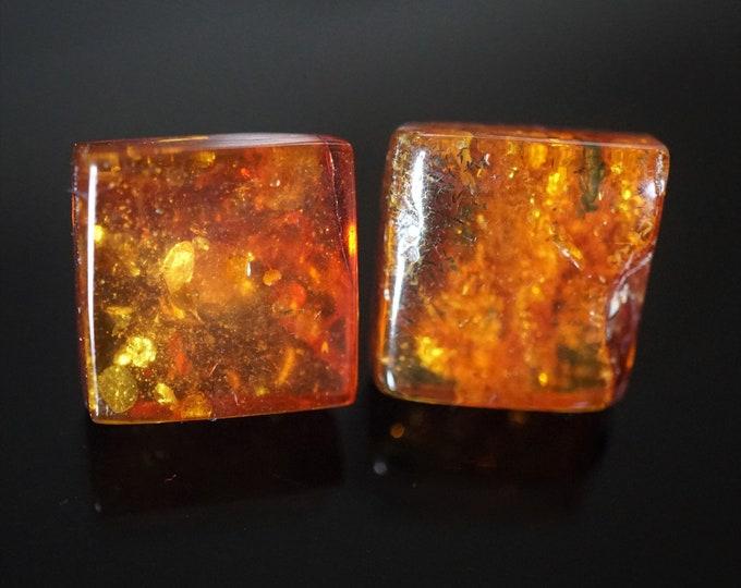 Yellow Cognac Natural Baltic Amber Stud Earrings, Square Earrings