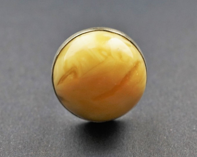 12g Butterscotch Amber Ring, Round Amber Ring, Genuine Amber, Not Modified Amber