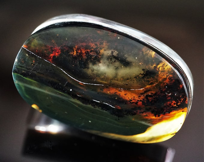 37,3g. Huge Natural Baltic Amber Sterling Silver Ring, Yellow Cognac Amber, Adjustable Size Ring