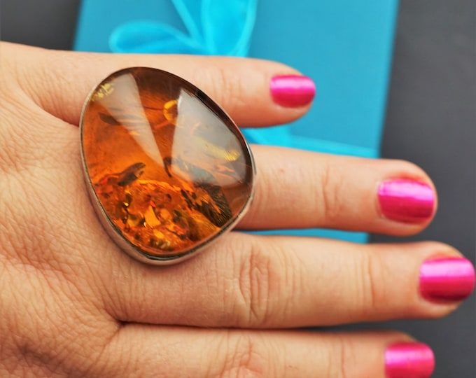 30,6g. Baltic Amber Sterling Silver Ring, Large Amber Ring, Oversized Ring