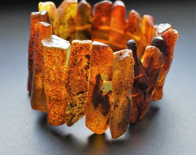 72g Huge Cognac Yellow Baltic Amber Bracelet, Genuine Amber Bracelet, Beaded Bracelet, Untreated Amber