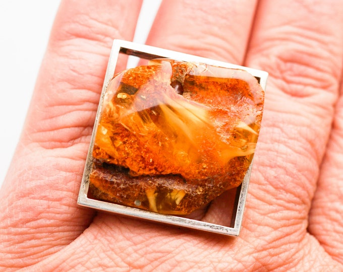 18g.Baltic Amber Ring, Natural Amber Ring, Honey Amber Ring, Unisex Ring, Square Ring, Oversized Ring