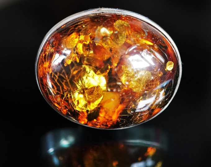 23,8g. Genuine Baltic Amber Ring, Cognac Amber Ring, Large Amber Ring