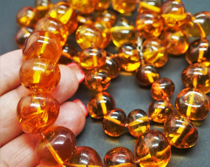 74,1g. Genuine Natural Baltic Amber Necklace- Amber Balls, Cognac Amber, Not Pressed