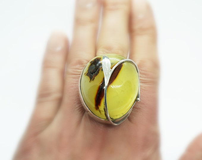 25g. Original, Artistic Baltic Amber Ring, Unique Yellow/ Lemon Amber Ring, Oversized Amber Ring
