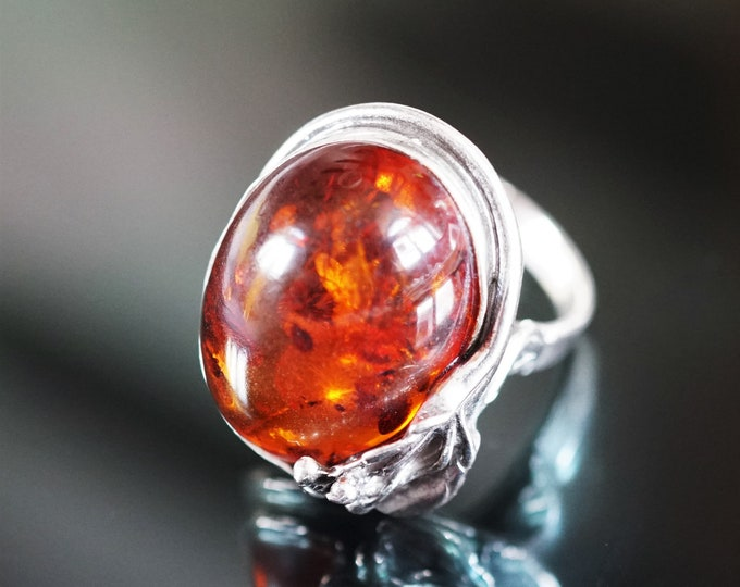 6,7g.Cognac Baltic Amber Ring, Sterling Silver