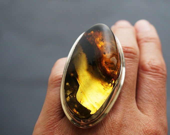 54,6g. Huge Baltic Amber Sterling Silver Ring, Oversized Ring, Yellow/Cognac Amber Ring