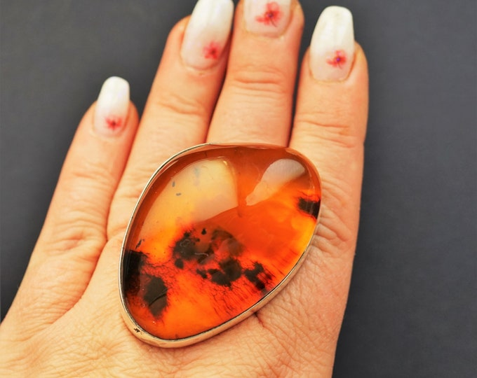 43,1g. Huge Cognac  Baltic Amber Ring, Genuine Amber Ring, Oversized Ring, Unique Gift, Collectors Piece, Posh Ring