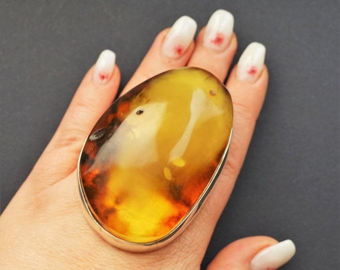 107,9g Massive Unique Baltic Amber Ring,Natural Baltic Amber Ring, Yellow Amber,Milky Amber Ring