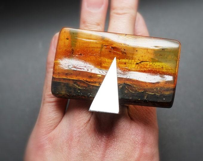 35,5g Huge Baltic Amber Ring, Huge Ring, Artistic Jewellery, E. Salwierz Design