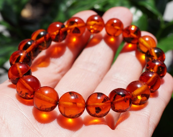 10mm. Cognac Baltic Amber Bracelet, Genuine Amber, Ball Amber Bracelet, Beaded Bracelet