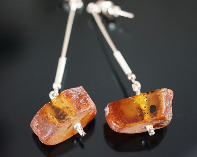 6g. Genuine Baltic Amber Sterling Silver Earrings, Long Earrings