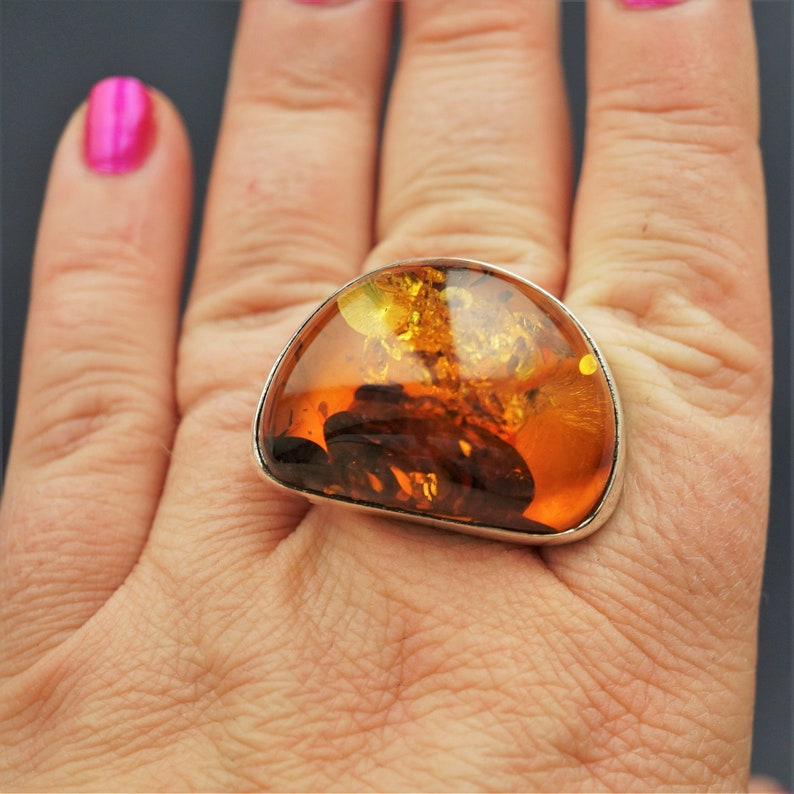 Ring 925 Sterling Silver 22 x 10 mm Cognac Genuine Baltic Amber