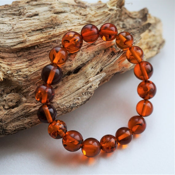 9g Cherry Baltic Amber Bracelet, 10mm, Genuine Amber, Not Pressed Amber