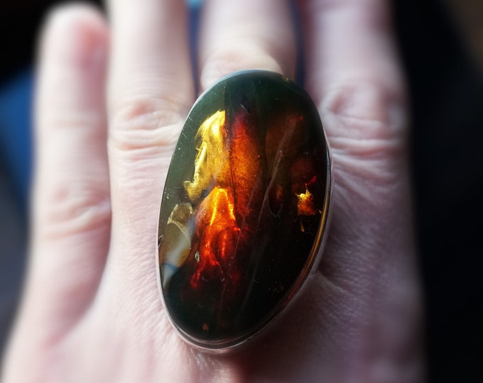 32,5g. HugeNatural Baltic Amber Sterling Silver Ring, Yellow Cognac Amber, Adjustable Size Ring