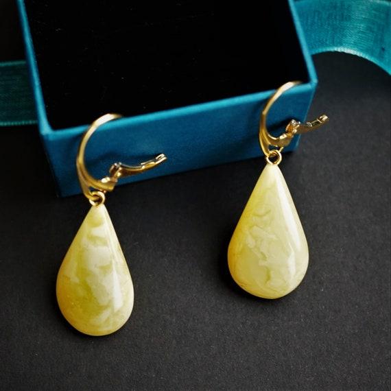 3,8g. Yellow/Milky Baltic Amber Earrings, Dangle Amber Earrings, Genuine Amber, Large Earrings, Not Modified Amber