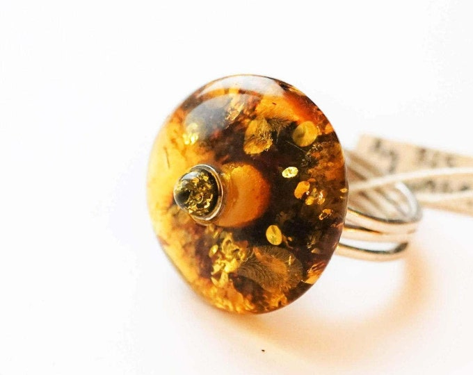 7g Green Cognac Baltic Amber Ring