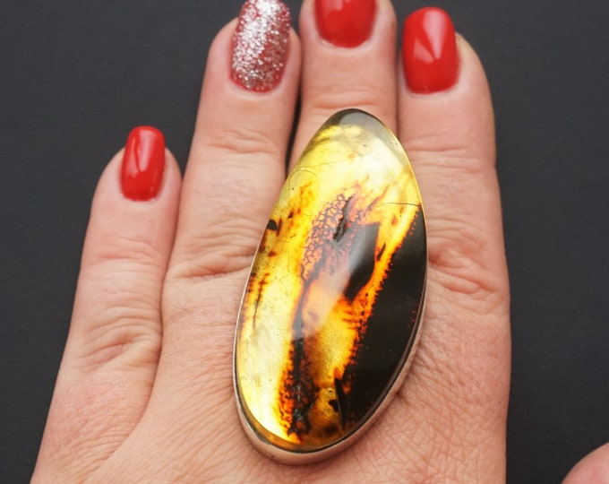 36,3g. Large Baltic Amber Sterling Silver Ring, Yellow Amber, Adjustable Size Ring