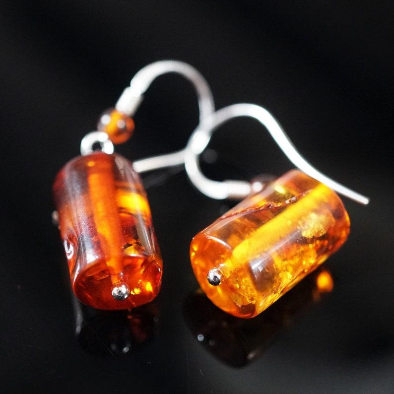 Cognac Baltic Amber Sterling Silver Earrings Barrel Amber Earrings 3,2g