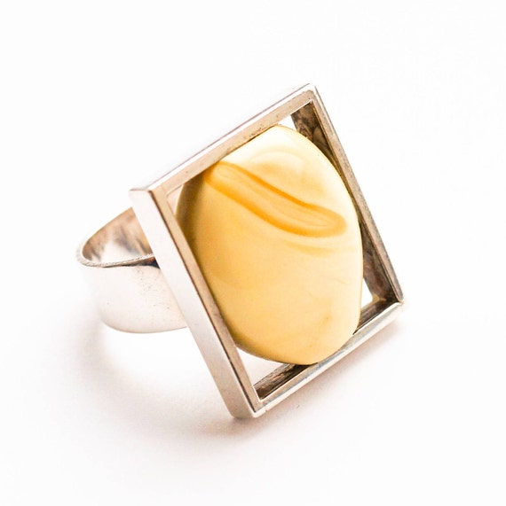 Handmade Silver Baltic White Amber Ring, 12g