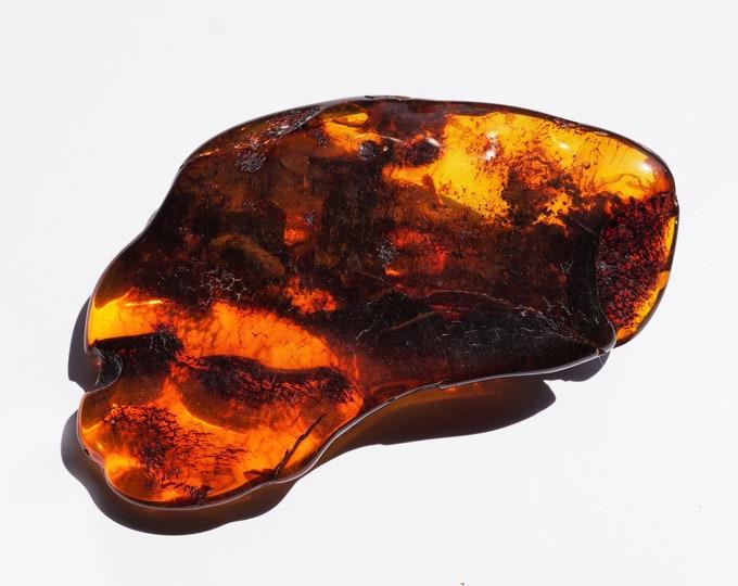 41,8g. Natural Baltic Amber Stone, Yellow/Cognac Baltic Amber, Large Genuine Amber Stone