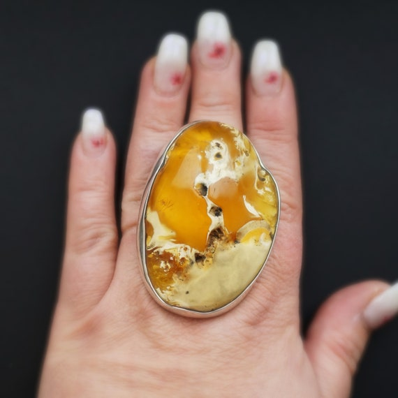 55,2g Huge Baltic Amber Ring, Oversized Ring, Unique Ring, Genuine Amber, Untreated Amber, Landscape Amber