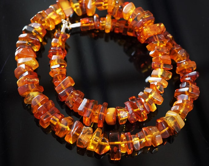46,8g Yellow Cognac Natural Baltic Amber Necklace, Genuine Amber Necklace