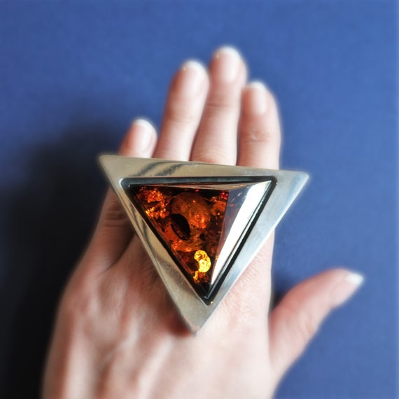 49,5g E. Salwierz  Baltic Amber Ring, Huge Ring, Artistic Jewellery, Cognac Amber Ring, Triangle, Triangular Ring