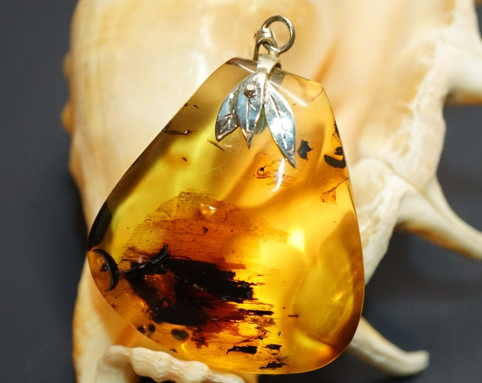 18,6g Baltic Amber Pendant, Sterling Silver Baltic Amber Pendant, Natural Amber Pendant