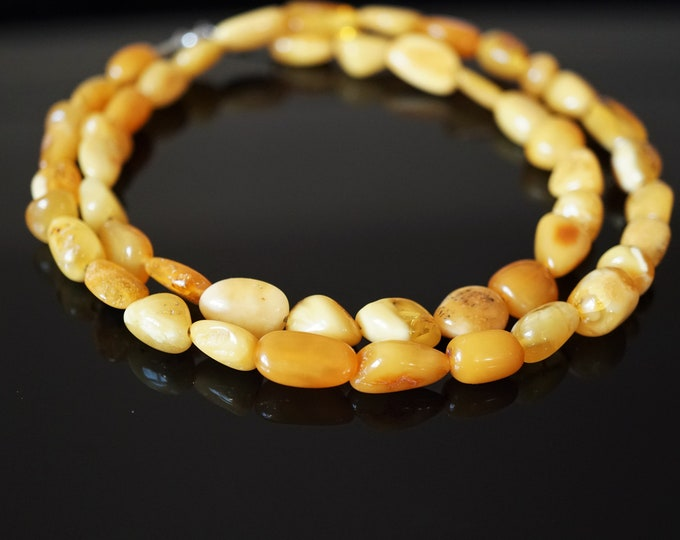 17g. White Butterscotch  Natural Baltic Amber Bead Necklace,, Nugget Amber, Elegant Amber Necklace