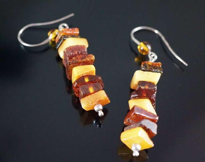 5,6g. Natural Baltic Amber Earrings, Yellow, Cognac Amber Earrings, Genuine Amber Earrings, Gift for Wife Girlfriend