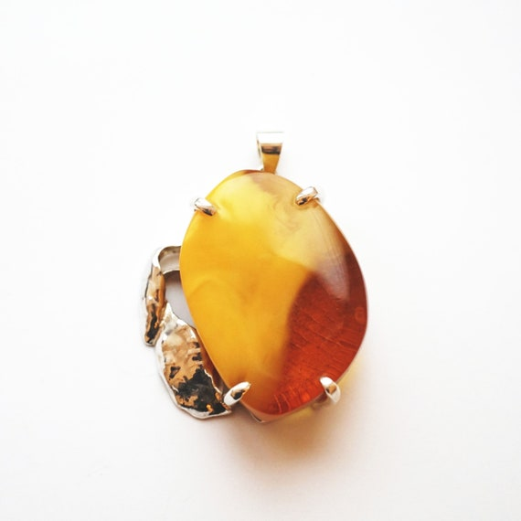 29g Genuine Baltic Amber Pendant, Butterscotch, Honey Baltic Amber, Sterling Silver