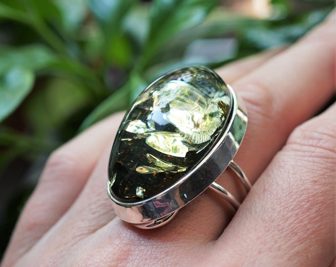 15,5g. Big Green Baltic Amber Ring, , Sterling Silver, Adjustable Ring, Oval Ring