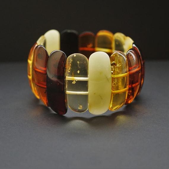 27g Multicolour Amber Bracelet, Genuine Amber Bracelet, Beaded Bracelet