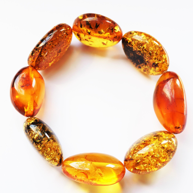 Yellow Green Amber Bracelet Natural Baltic Amber Bracelet 22,7g Olive Bead Amber