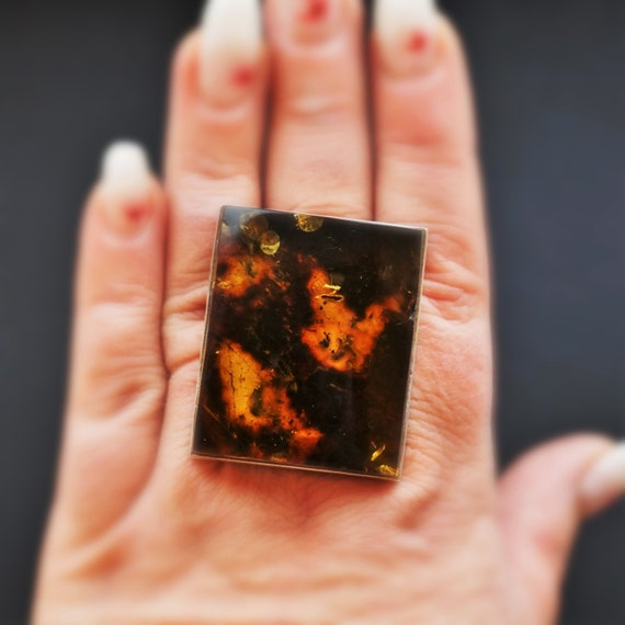 35g Artistic Baltic Amber Ring, Oversized Amber Ring, Sterling Silver Amber Ring