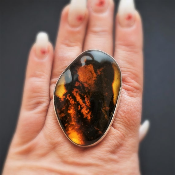 31,9g. Baltic Amber Sterling Silver Ring, Large Amber Ring, Oversized Ring