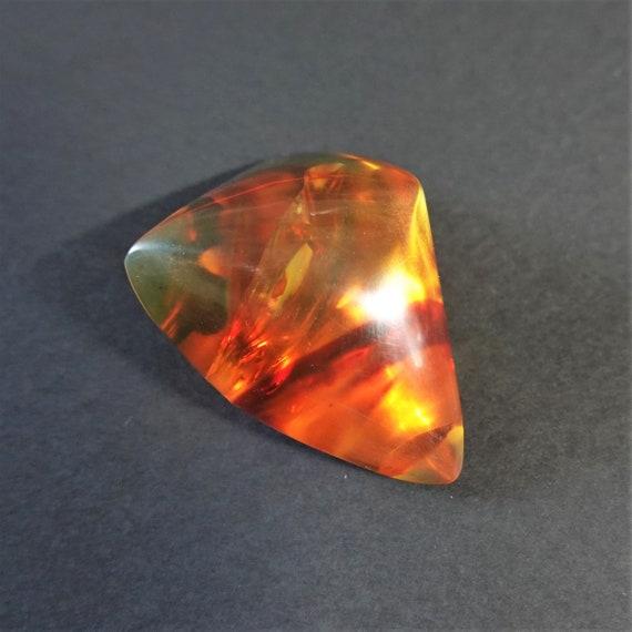 32g. Natural Baltic Amber Cabochon, Yellow/ Cognac Baltic Amber, Large Genuine Amber Stone