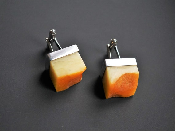 20.6g. Large Baltic Amber Cufflinks