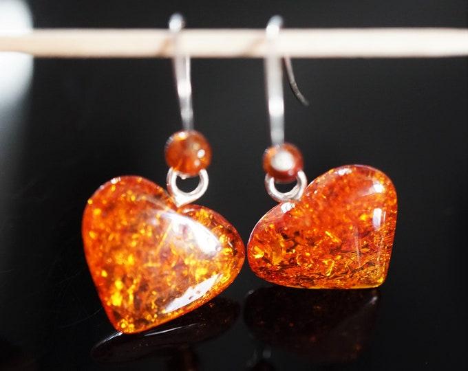 2,2g. Cognac Baltic Amber Sterling Silver Earrings, Hearts Earrings