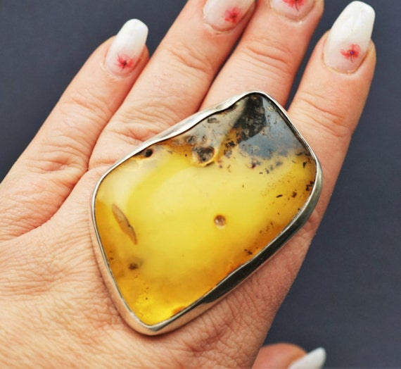 45,3g. Huge Unique Baltic Amber Ring, Oversized Ring, Natural Baltic Amber, Genuine Amber Ring, Butterscotch Amber Ring