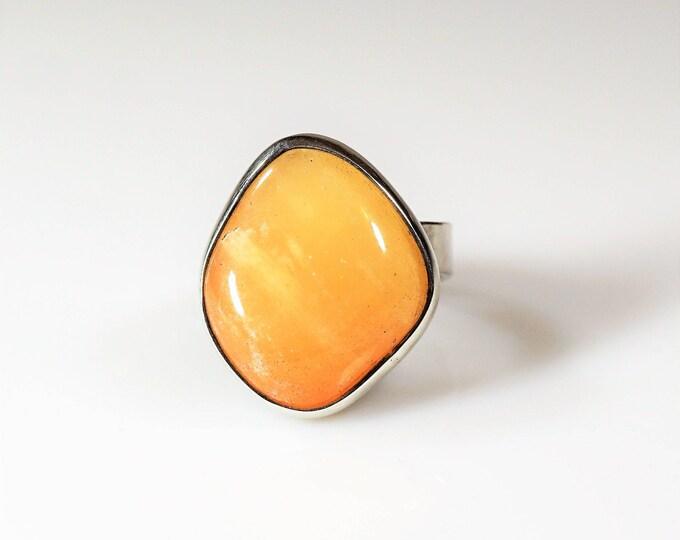 Handmade Sterling Silver Yellow Aventurine  Ring 8g