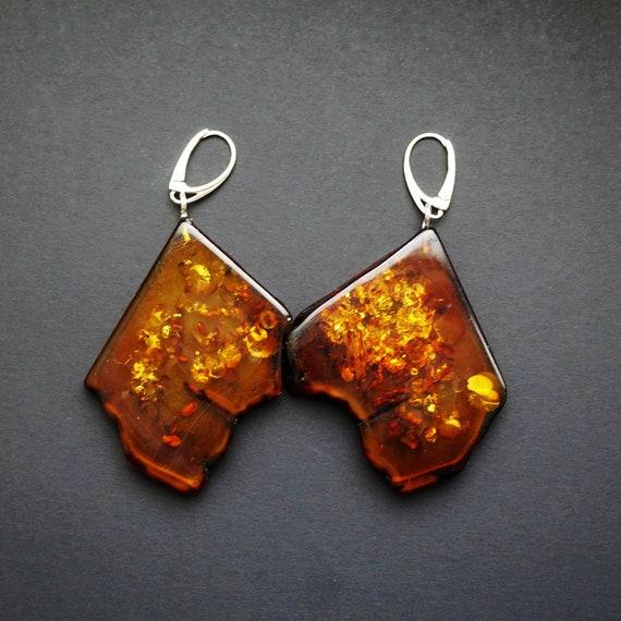 17,4g Large Baltic Amber Earrings, Genuine,Cognac Amber