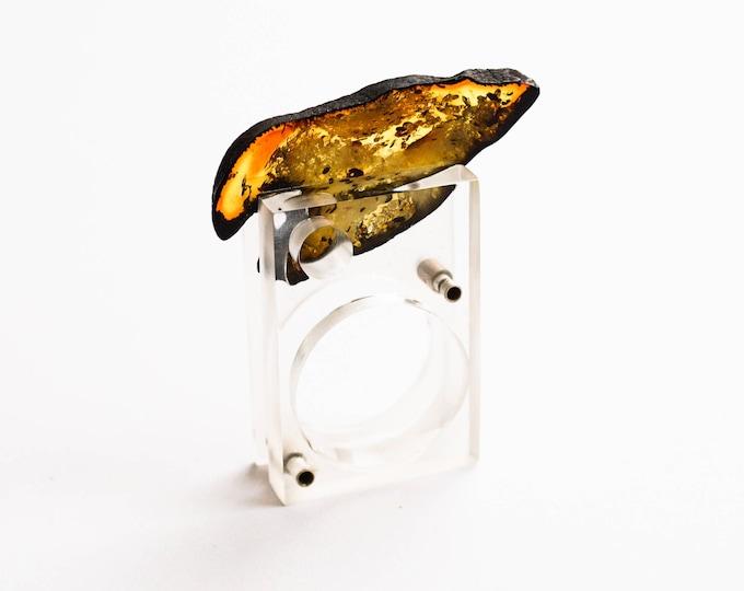 Plexiglass Baltic Amber Sterling Silver Ring E.Salwierz DESIGN