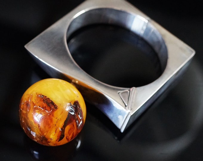 76,6g. Baltic Amber Bracelet, E.Salwierz Design, Ball Amber, Unique Gift , Butterscotch Amber, Modern Design Bracelet