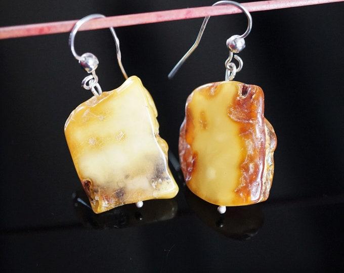6.7g Natural Baltic Amber Earrings, Butterscotch Earlobe Long Dangle Earrings