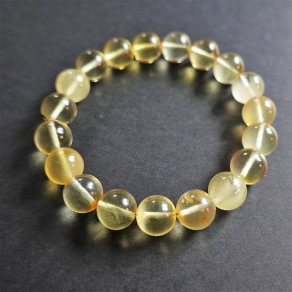 9mm. Yellow Baltic Amber Bracelet, Genuine Amber Bracelet, Beaded Bracelet, Untreated Amber, Organic, Natural