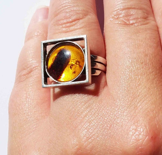 6g Handmade Baltic Amber Ring, Amber Sterling Silver Ring, Yellow Amber Ring, Whiskey Amber Ring, Square Ring